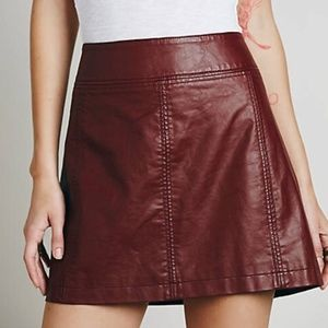 Free People Vegan Leather Deep Red Mini Skirt